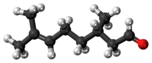 Ball-and-stick model of the (-)-citronellal molecule