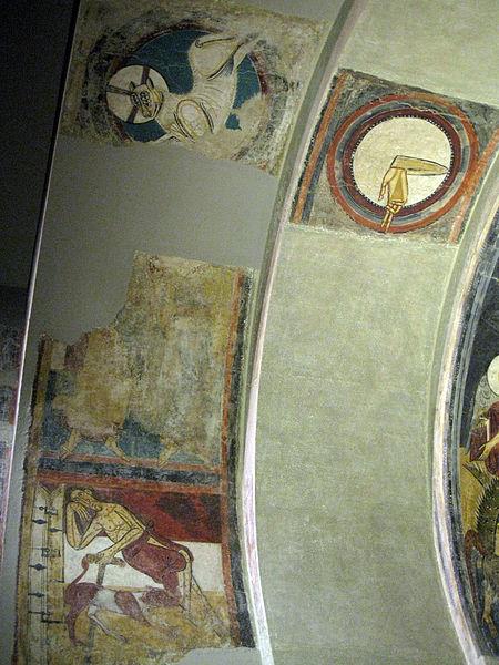 File:048 Absis de Sant Climent de Taüll, detall amb la mà de Déu i l'anyell pasqual.jpg