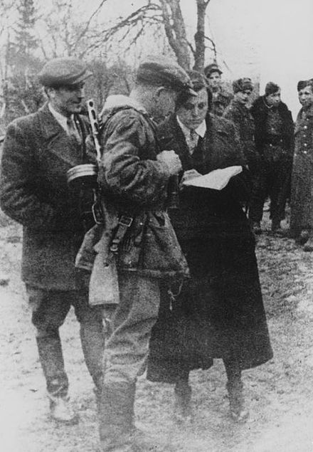 Shukhevych, Dmytro Hrytsai and Kateryna Meshko (uk) in Buchach, 1943; shortly before the massacres of Poles in Volhynia and Eastern Galicia. 1307438718 arxivcdvr sh00050.jpg