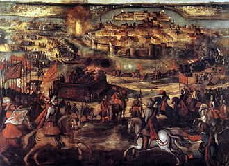 Maastricht - The Siege of Maastricht (1579) as depicted in the Palace of Aranjuez