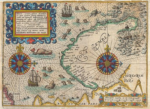 1601 De Bry and de Veer Map of Nova Zembla and the Northeast Passage - Geographicus - NovaZembla-debry-1601