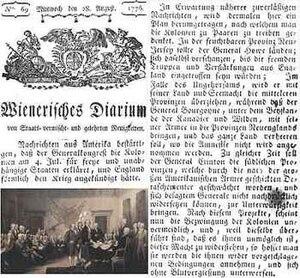 Wiener Zeitung - Wienerisches Diarium, 1776