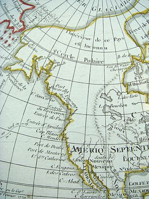 """Fusang - Mention of Fusang (""""Fousang des Chinois"""") on a 1792 French world map, in the area of modern British Columbia."""