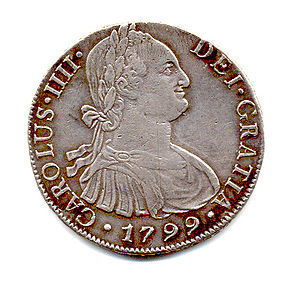 Scan of a 1799 Spanish Carlos III Ral (obverse)