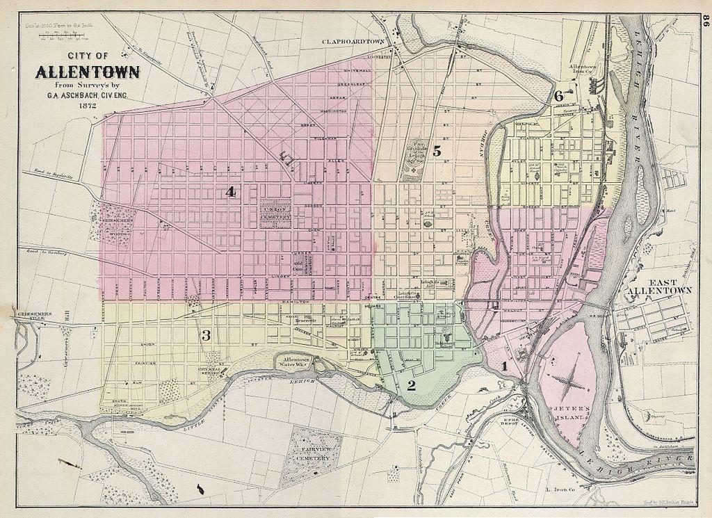 Street map Allentown Easton Pennsylvania