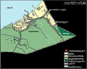 Venstre:   kort over Kungsladugård, 1872.   Højre:   Brandels plan for Kungsladugård, 1876.
