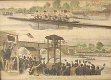 The International Four-Oared Regatta on the Schuylkill River, August 29–30, 1876, hand-colored engraving.