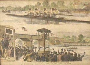 Schuylkill Navy - An 1876 depiction of the International Regatta at the Centennial Exposition