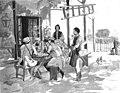 1877-07-22, La Ilustración Española y Americana, Crónica ilustrada de la Guerra de Oriente p. 49 (cropped) Michalesti, Alojamiento de algunos corresponsales de periódicos.jpg