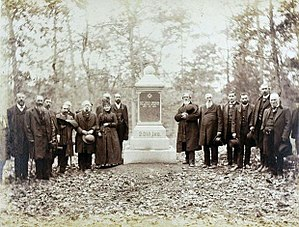 20th Indiana Infantry Regiment - Surviving members of the 20th Indiana Regt. gather at the Gettysburg Battleground for the dedication of a monument in their honor, 1885.