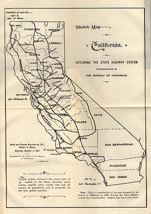 History of California's state highway system - Recommended state highway system, 1896