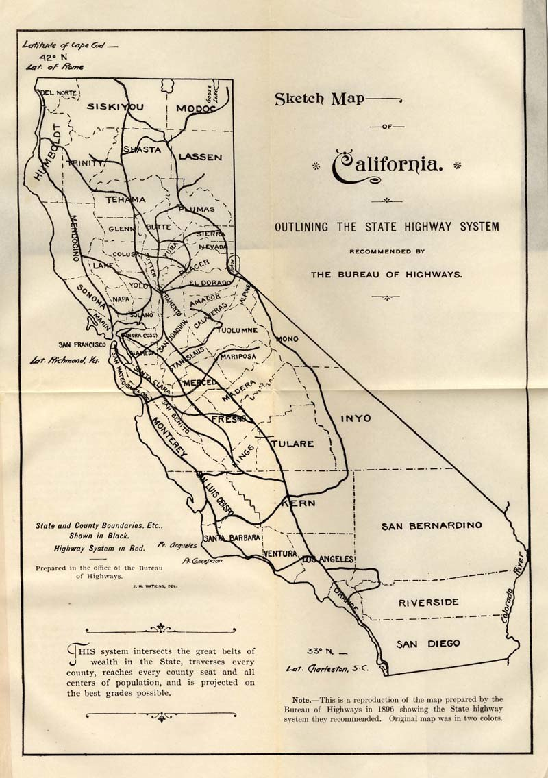 1896 recommended state highway system for California