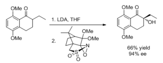 Electrophile - Use of a chiral oxaziridine for asymmetric synthesis.