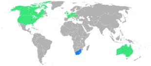 Paesi partecipanti. Blu = Prima apparizione Verde = Partecipazioni successive. In giallo la città ospitante (Saint Louis)