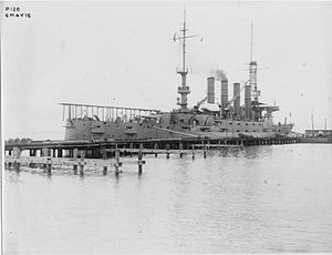 USS North Carolina (ACR-12) - Image: 1916 catapult launcher on USS North Carolina