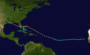 1947 Fort Lauderdale hurricane - Image: 1947 Fort Lauderdale hurricane track
