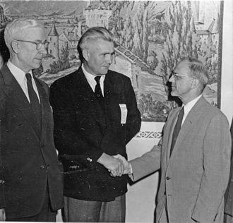 Mennonites in Uruguay - 1956 General Conference Mennonite Church meeting (left to right: Gerhard Lohrenz, Ernst Regehr (Uruguay), S. Floyd Pannabecker photo published in Der Bote, October 17, 1956, p. 3)
