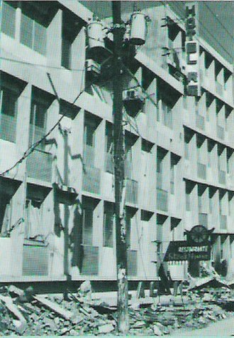 1972 Nicaragua earthquake - A hotel destroyed by the quake in Managua's centre