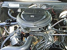 "Shows the engine compartment of a 1973 Javelin with a 401 ""Go Pac"""