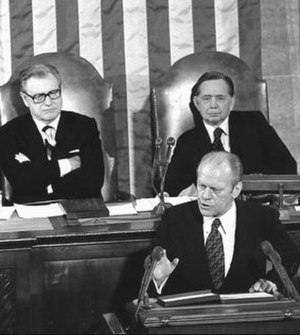 1975 State of the Union Address - President Gerald Ford with Vice President Nelson Rockefeller and House Speaker Carl Albert during the 1975 State of the Union address.