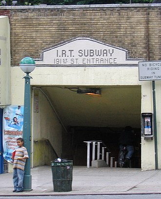 191st Street (IRT Broadway–Seventh Avenue Line) - Image: 2005 Bwy Walk 0505 Station 191st Broadway crop