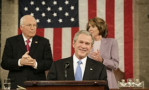 2008 State of the Union Address - President George W. Bush during the 2008 State of the Union speech, with Vice President Richard B. Cheney and House Speaker Nancy Pelosi.