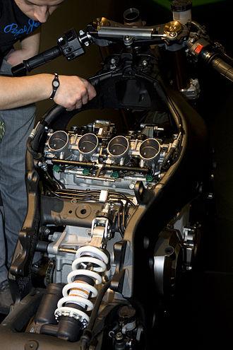 Kawasaki Ninja ZX-10R - Horizontal rear shock and ram-air passages through the neck of frame