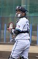 20120304 Shuto Takajo, catcher of the Yokohama BayStars, at BayStars Stadium.JPG