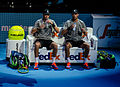 2014-11-12 2014 ATP World Tour Finals Mike and Bob Bryan changeover by Michael Frey.jpg