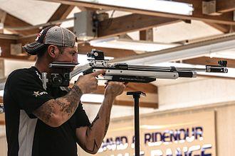 Feinwerkbau - Competitor using a FWB P700 4.5mm PCP target rifle at the 2014 Warrior Games