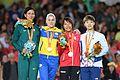 2016 Paralympics judo 57 kg women podium.jpg