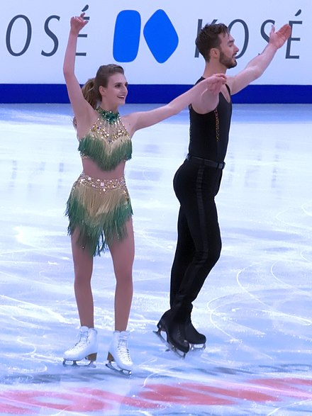 Gabriella Papadakis and Guillaume Cizeron ending their short dance at the 2018 European Figure Skating Championships in Moscow.