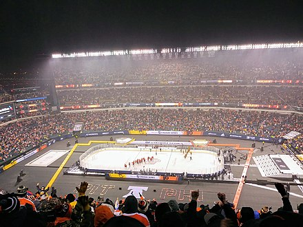 2019 NHL Stadium Series game after the Philadelphia Flyers defeated the Pittsburgh Penguins 4-3 in overtime. 2019 NHL Stadium Series at Lincoln Financial Field in Philadelphia.jpg