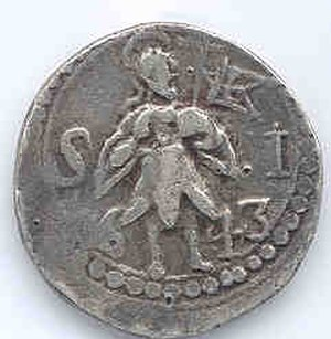 Portuguese Indian rupia - 1643 silver tanga coin featuring a standing figure facing right with flag struck for and minted in Goa during the reign of John IV