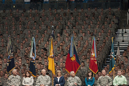 Soldiers of the 45th Infantry Brigade Combat Team, the successor organization to the 45th Infantry Division, hold a ceremony ahead of a deployment to Operation Enduring Freedom in February 2011. - 45th Infantry Division (United States)