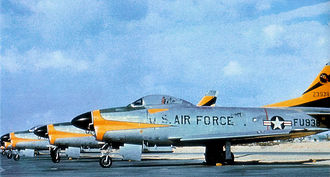 50th Space Wing - North American F-86D-45-NA Sabres of the 496th Fighter Interceptor Squadron. Serial 52-3938 is in front. After the transition to the F-102 in 1959, this aircraft was transferred to the Japanese Self-Defense Air Force.
