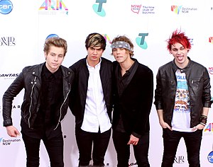5 Seconds of Summer - 5 Seconds of Summer at the ARIA Music Awards of 2014. From left to right: Luke Hemmings, Calum Hood, Ashton Irwin, and Michael Clifford