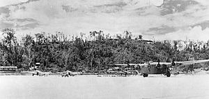 5th Operations Group - A 5th Bomb Group B-24 Liberator preparing to take off from Munda Airfield, New Georgia, Solomon Islands on 27 March 1944.