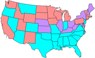 63rd United States Congress - Map showing Senate party membership at the start of the 62nd Congress. Red states are represented by two Republicans and blue by two Democrats. Purple states are represented by one senator from each party.