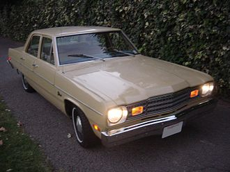 1974 Plymouth Valiant with headlamps, amber front position lamps, and side marker lights lit 74valiantsedan.JPG