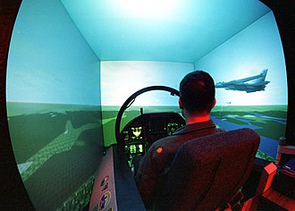 Flight simulator - F/A-18 Hornet flight simulator aboard the USS Independence aircraft carrier
