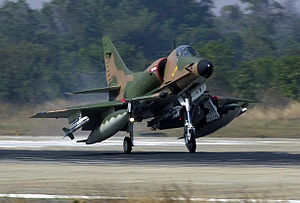 ST Aerospace A-4SU Super Skyhawk - RSAF A-4SU Super Skyhawk taking off from RTAFB Korat during Exercise COPE TIGER '02.