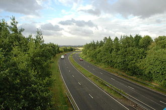 A49 road - The A49 spur to the M6 near Warrington and Winwick.