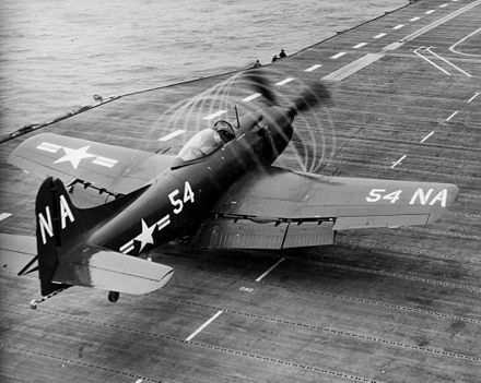A AM-1Q of VC-4 preparing to take off from the Kearsarge in 1949 - Martin AM Mauler