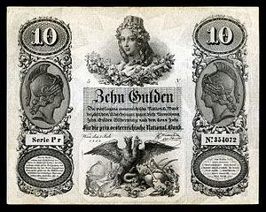 Austro-Hungarian gulden - Image: AUS A83 Austria 10 Gulden (1854)