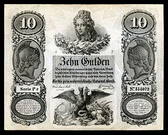 Peter Johann Nepomuk Geiger - Austrian 10 Gulden note (1854) designed by Geiger.