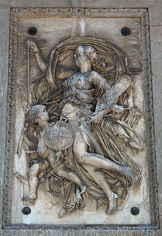 """Compañía Transatlántica Española - Compañía Transatlántica allegory, by Rossend Nobas, on one side of the monument """"A López y López"""" in Barcelona."""