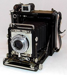 A Well-Used & Patched-Up Vintage Century Graphic Camera by Graflex, Introduced In 1949, Measures Approximately 5.75 Inches Wide, 6.75 Inches High & 3.25 Inches Deep, Made In USA (9108905498)