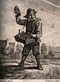 A country pedlar selling medicines from a basket. Etching by Wellcome V0010723.jpg