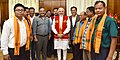 A delegation of Tiwa Autonomous Council led by the Minister of State for Youth Affairs and Sports (Independent Charge), Shri Sarbananda Sonowal calls on the Prime Minister, Shri Narendra Modi, in New Delhi.jpg